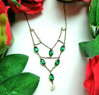 Antique Vtg Victorian Art Nouveau Green Glass Seed Pearl Delicate Bib Necklace
