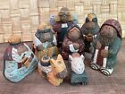 Nativity Hand Carved Wood Unique Folk Art Style 8 Pieces Including an Angel