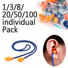 1382050100pack Silicone Corded Soft Ear Plugs Reusable No Noise Earplugs Us