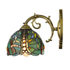Dragonfly Pattern Wall Sconce Art Deco Stained Glass Outdoor Wall Lamp Fixture