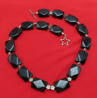 Vintage Sterling Silver Statement Necklace Black Faceted Glass 22 in Strand 843r