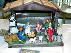 ANTIQUE NATIVITY SCENE CRECHE MARY JESUS ANGEL 3 MAGI 4 ANIMALS