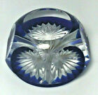 BACCARAT GLASS PAPERWEIGHT COBALT BLUE CUT TO CLEAR STAR VINTAGE FOIL STICKER