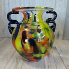 Beautiful Hand Crafted Blown Stained Glass Fiesta Colors Vase Urn 7