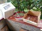 Vintage Indiana Glass Ruby Whitehall Punch Bowl  12 Footed Cups W box
