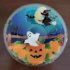 Peggy Karr Glass Halloween Bowl 85 Ghost Cat Pumpkins Witch Moon Signed