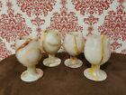 Vintage Natural Onyx Marble Stone Stemmed Wine Cup Glass Goblets