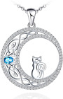 Sianilvera 925 Sterling Silver Cat Necklace for Women Girl Celtic Moon Cat Birth