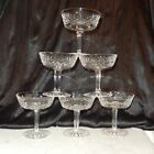 Set 6 Vintage Waterford LISMORE Cut Crystal Saucer Champagne Tall Sherbet Glass