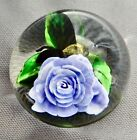 RICK AYOTTE PAPERWEIGHT MINIATURE LAVENDER ROSE W BEE 1 OF 1 UNIQUE