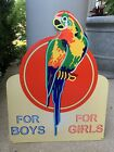 Vintage Style Large Red Parrot Shoes For Girls For Boys US Die Cut Metal Sign