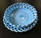 1880 Blue milk glass scroll and eye slag bowl and plate by Challinor Taylor