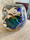 Large Heavy Hexagon Shaped Paperweight Silver Ball Yellow Green Glass Balls