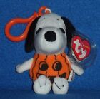 TY SNOOPY the HALLOWEEN PUMPKIN KEY CLIP BEANIE BABY - MINT with MINT TAG