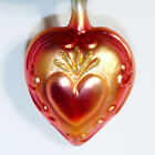 Christmas Ornament DROP Glass LARRY FRAGA GERMANY Copper Heart 7 USA SELLER