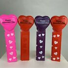 PEZ Valentine's Day Hearts 4 Different Styles No Feet Dispensers Lot of 4