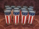 Libbey Red White Blue Stars Stripes Tumblers Set of Thirteen 13 Excellent