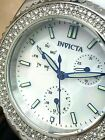 Invicta Womens Watch 28486 Angel 38mm White Silicone Silver Tone Crystal Accent