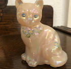 Vintage Fenton Pink Iridescent Glass Cat 4 Tall Hand Painted by A Sulles