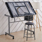 Adjustable Drafting Table Glass Drawing Board Desk w Stool for Architect Artist