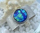 Cuff Bracelet Antique Silver Large Dichroic Glass Jewelry by Firefly Glass Art