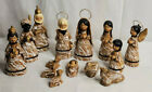 Mexican Folk Art Nativity Creche Christmas Drizzled Clay Pottery 14 Pc Figures