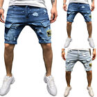 Mens Cargo Shorts Combat Ripped Denim Jeans Casual Chino Pants Pockets Trousers