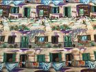 New Orleans Look Courtyard Shutters Geraniums Wisteria Dog Cat Creme 4 Yds Plus