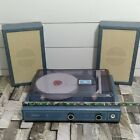 Vintage Sears Stereo Phonograph 1970s Denim Portable Record Player MUST SEE