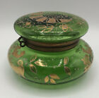 Antique French Green Glass Hand Painted Gold Hinged Lid Trinket Dish Powder Jar