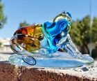 WOW DYNASTY GALLERY Art Glass Hand Blown Frog Paperweight Figurine 6 x 4