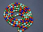 Vintage Murano Venetian Glass Beaded Necklace Hand Knotted Long Statement 54