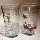 2 Anthropologie Molly Hatch Juice Water Glasses Hello Friend Do Your Best