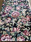 Vintage Heavy Cotton Upholstery Fabric Black Floral Cabbage Rose Chintz 4 Yds