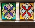 SET2 SMALL VINTAGE STAINED LEADED GLASS WINDOWS FOR REPURPOSING