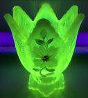 Vaseline Glass Fenton Mint Votive Taper Candle Holder Hand Painted By Enoch