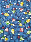vintage 100 cotton quilting fabric blue abstract print Printsiples material 2pc