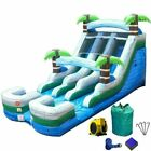 Commercial Inflatable Water Slide 15H Wet Dry Blue Tropical Slide With Blower