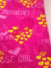 cotton flannel fabric LACROSSE GIRL pink material 4+yd x 44w yellow hearts new