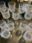 Vintage Etched Cut CRYSTAL Wine  Cordial Glasses SET OF 12 FLAWLESS