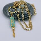 Czech Teal Press Glass Amazonite Bead Dagger Upcycled Necklace