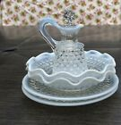 Fenton Glass Moonstone Opalescent Hobnail Cruet and 2 Berry Bowls and Saucers