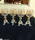 Four Rare Bohemian Reeded Foot Wine Glasses