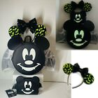 Disney Halloween Mickey Glow Face Backpack and Bat Wallet and Bat Ears