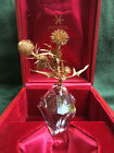 Rare Art Glass STEUBEN THISTLE ROCK Red Box Faceted Perfect Crystal 18K Vermeil