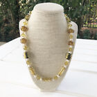 New Murano Glass Amber Pearl  Czech Crystal Genuine Beaded Necklace