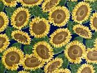 Sunflower Fabric Polished Cotton Yellow Green Blue 45 Width Five Yards New