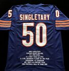 Mike Singletary Signed Autographed Blue Stat Jersey JSA COA Chicago Bears Great