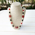 New Genuine Pearl Onyx Murano Glass Beads Beaded Necklace Red Black White