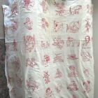 Vintage Antique Unfinished Quilt Top RED WORK Embroidery 80 Panels on Muslin
